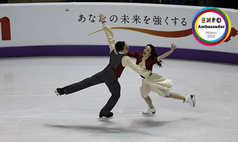 Cappellini e Lanotte Ambassador di Expo danzando sul ghiaccio