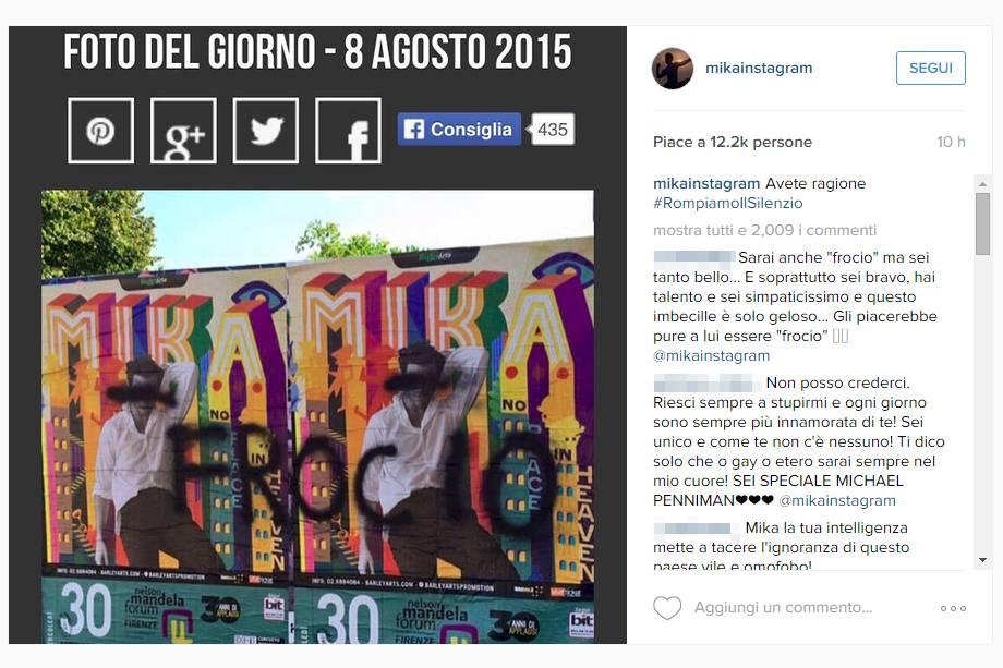 """Insulti scritti sui poster, Mika contro gli omofobi: """"Sbagliato avere paura"""""""