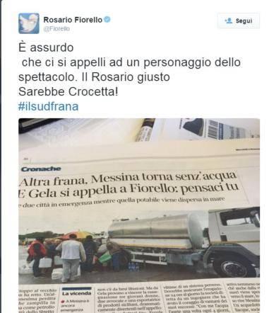 """Pure Gela è senz'acqua, Fiorello accusa: """"Il Rosario giusto è Crocetta"""""""