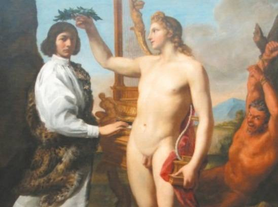Ritratto di Marcantonio Pasqualini incoronato da Apollo, di Andrea Sacchi