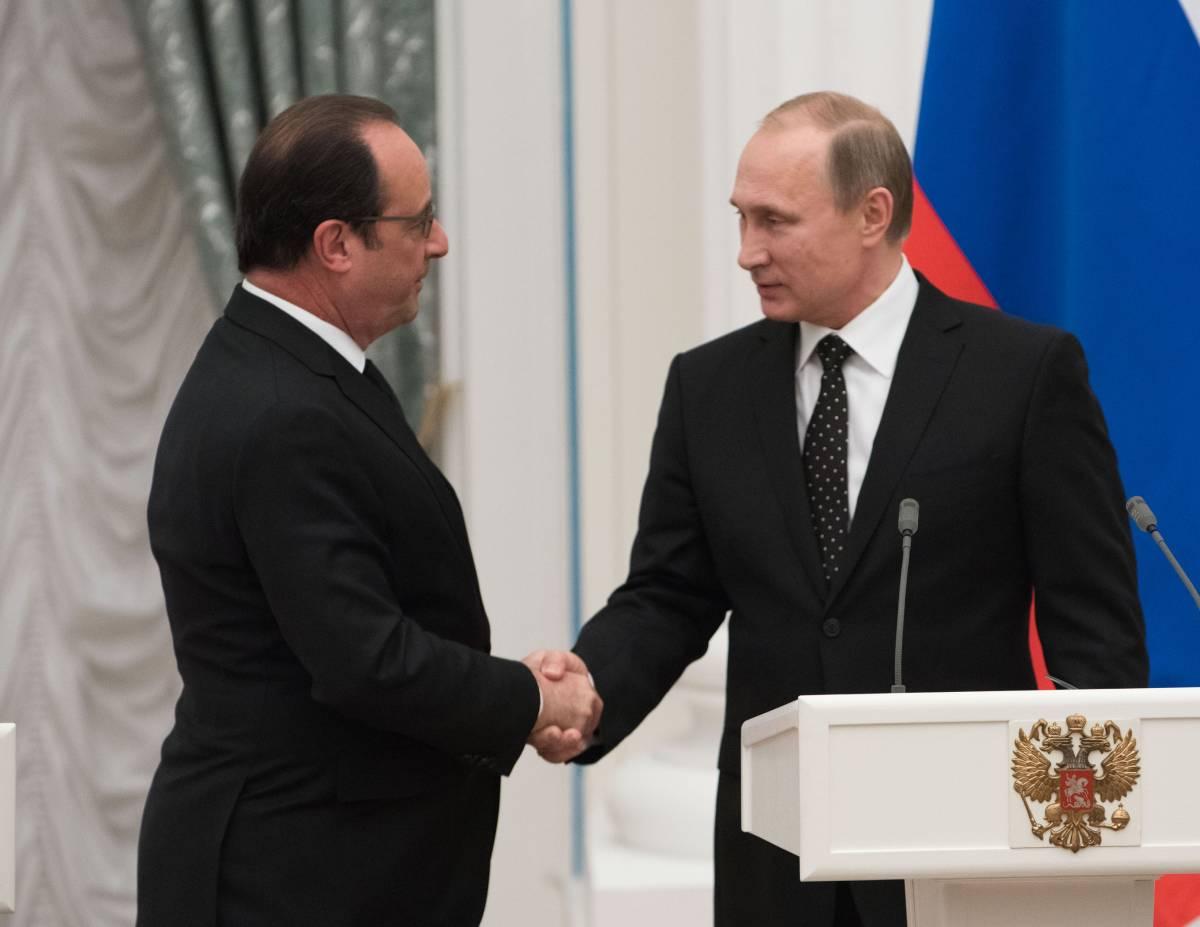 Putin e Hollande durante l'incontro al Cremlino