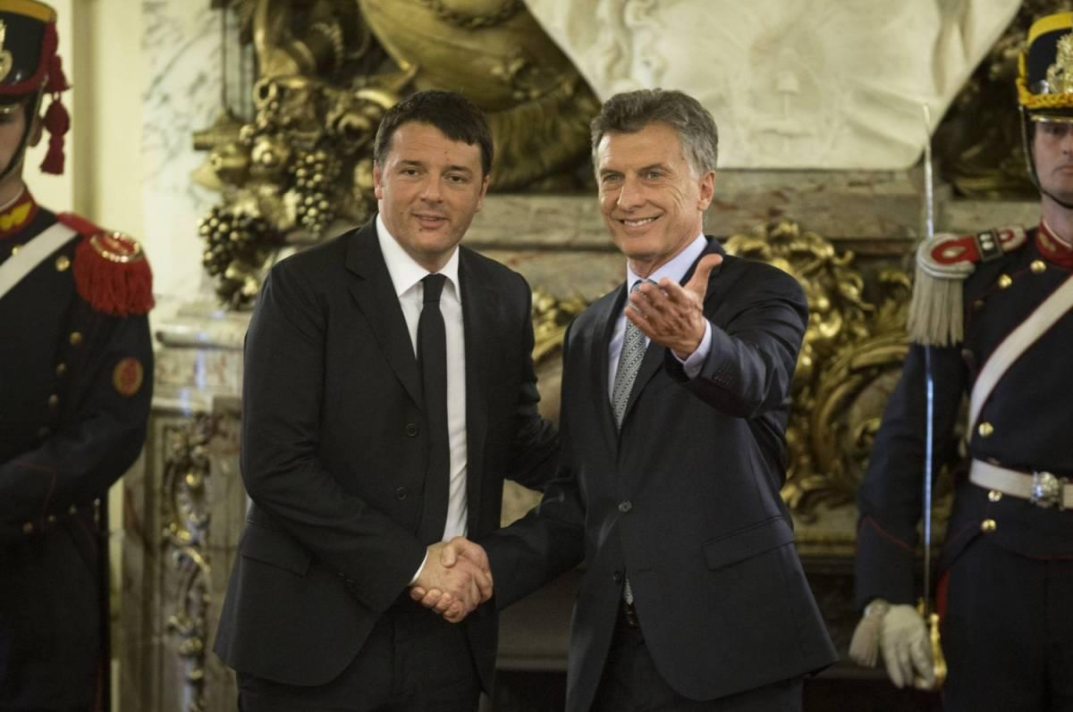 Renzi e il presidente argentino Mauricio Macri