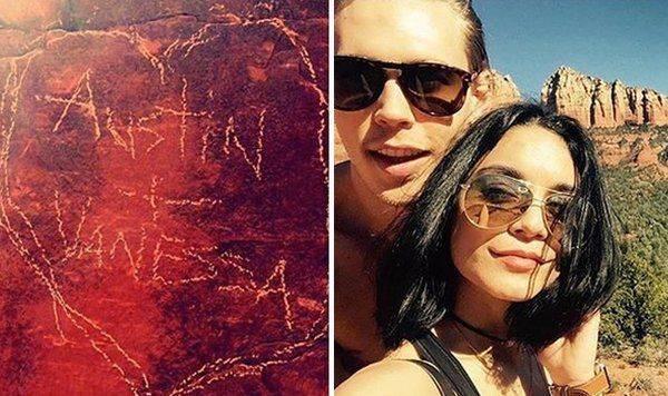 Vanessa Hudgens nei guai per aver scolpito una pietra d'amore in Arizona