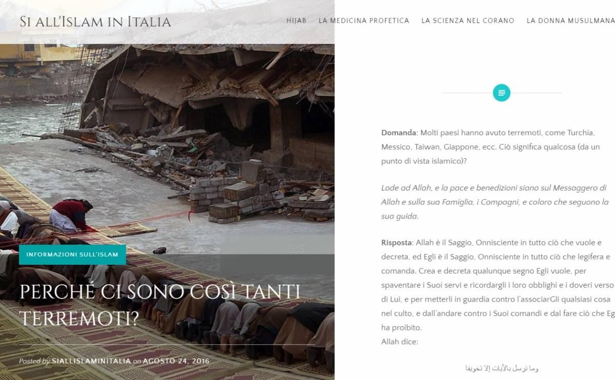 """Il delirio del sito islamista: """"Il sisma punizione di Allah"""""""