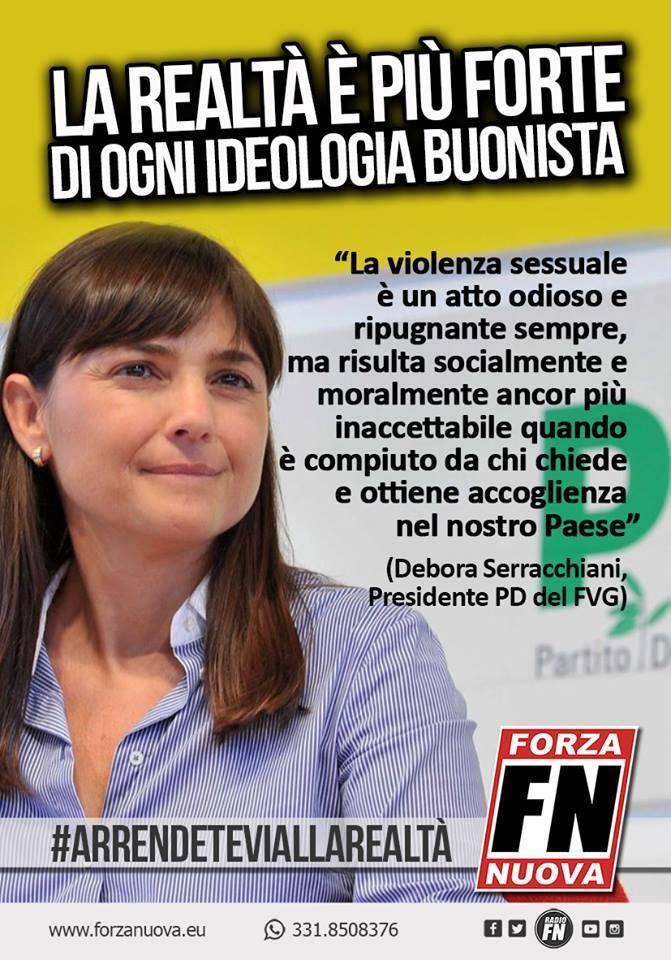 """Forza Nuova: """"La Serracchiani prenda la nostra tessera onoraria"""""""