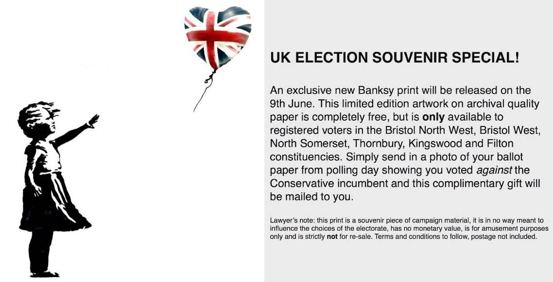 L'ultima provocazione di Banksy: un'opera gratis a chi vota contro i Tories