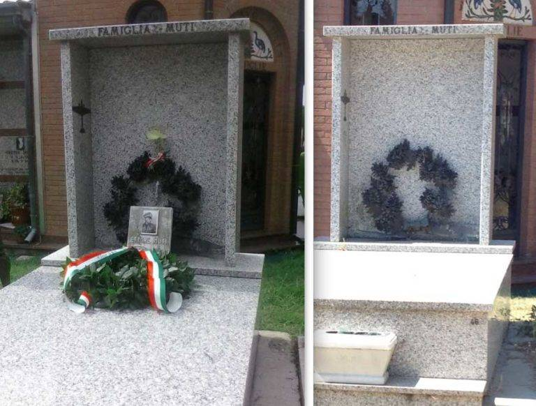 Scempio a Ravenna: vandalizzata la tomba dell'aviatore Ettore Muti