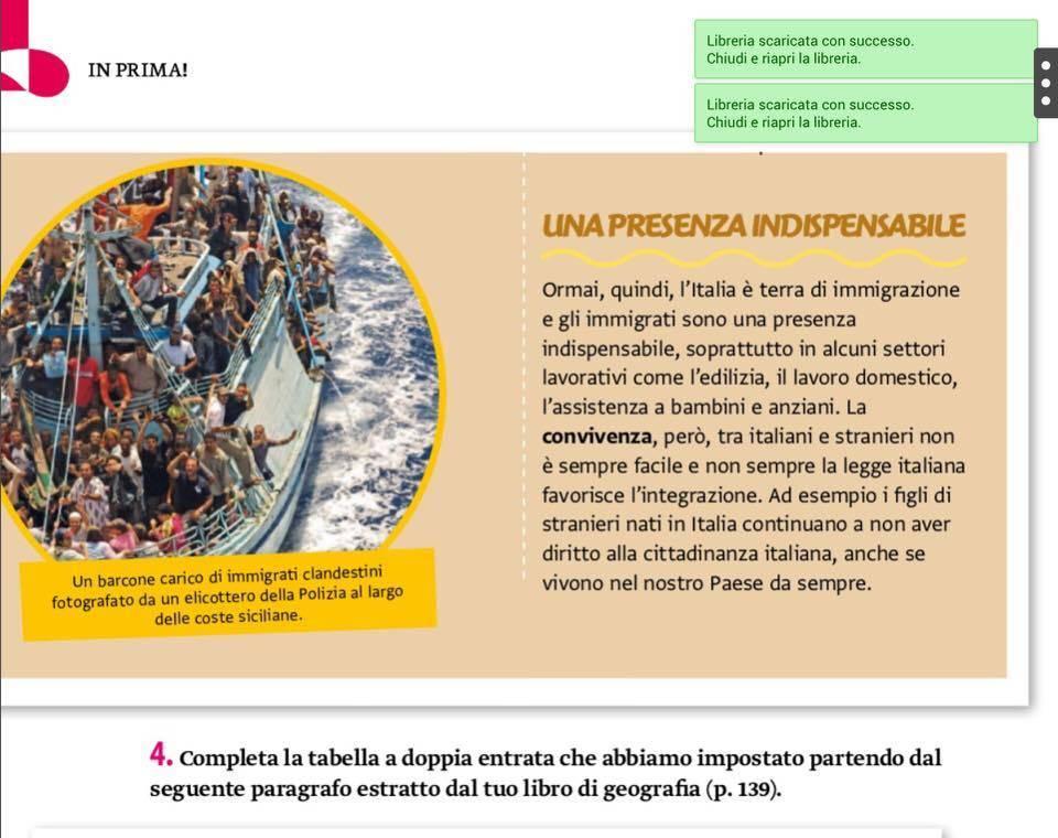 """Lo spot allo ius nel libro di scuola: """"Immigrati sono indispensabili"""""""