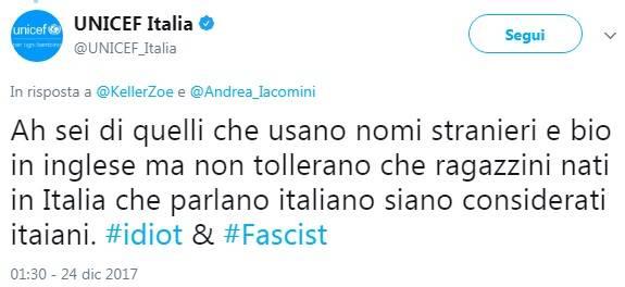 Idiota e Fascista: così Unicef definisce chi è contro lo ius soli