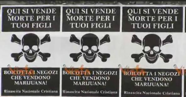 Roma, manifesti choc contro negozi che vendono prodotti alla marijuana