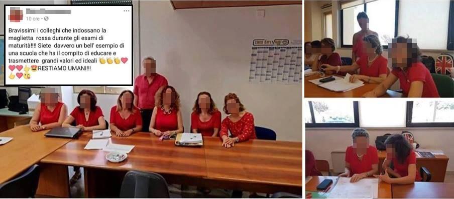 Con le magliette rosse a scuola: bufera sui prof alla maturità