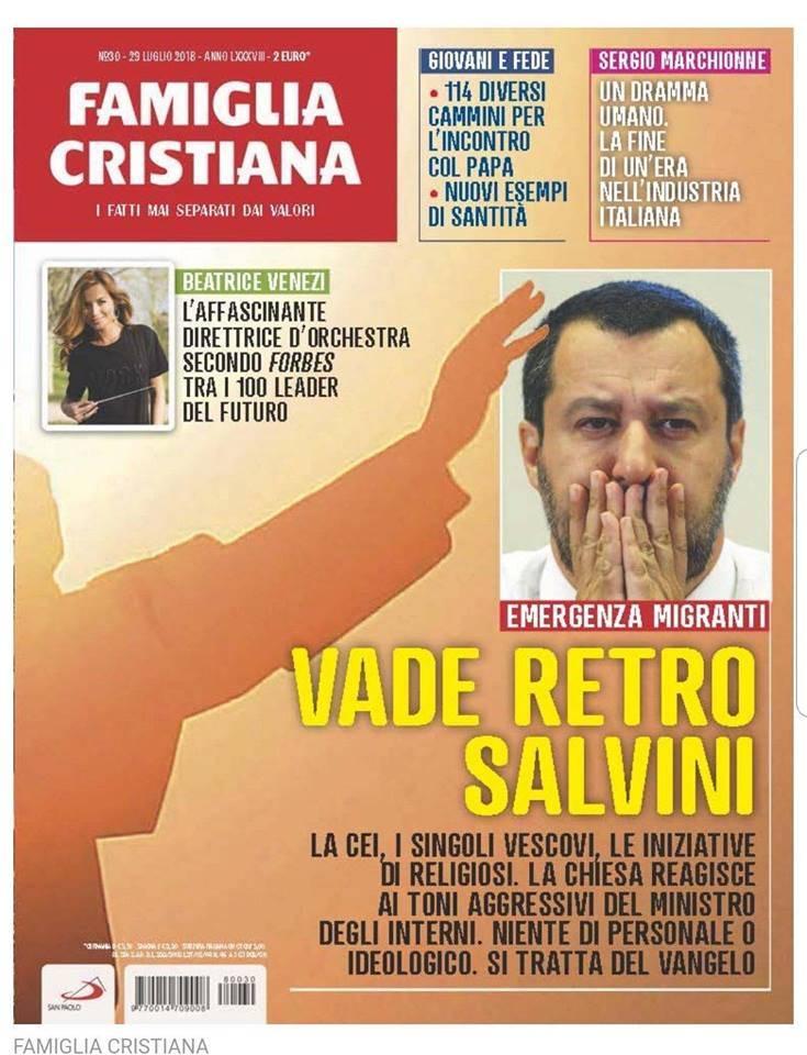 """Salvini: """"La copertina di Famiglia cristiana? Infame"""""""