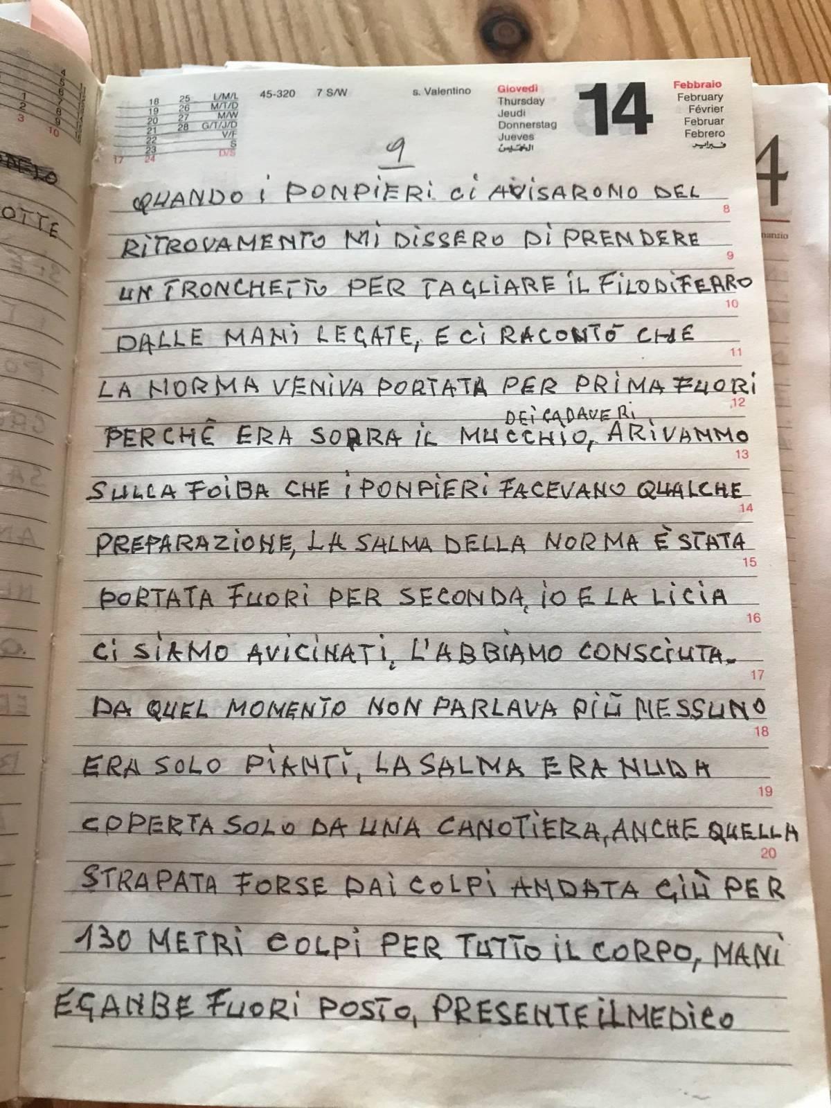 """Il diario del martirio: """"Così ho slegato i polsi al cadavere di Norma"""""""