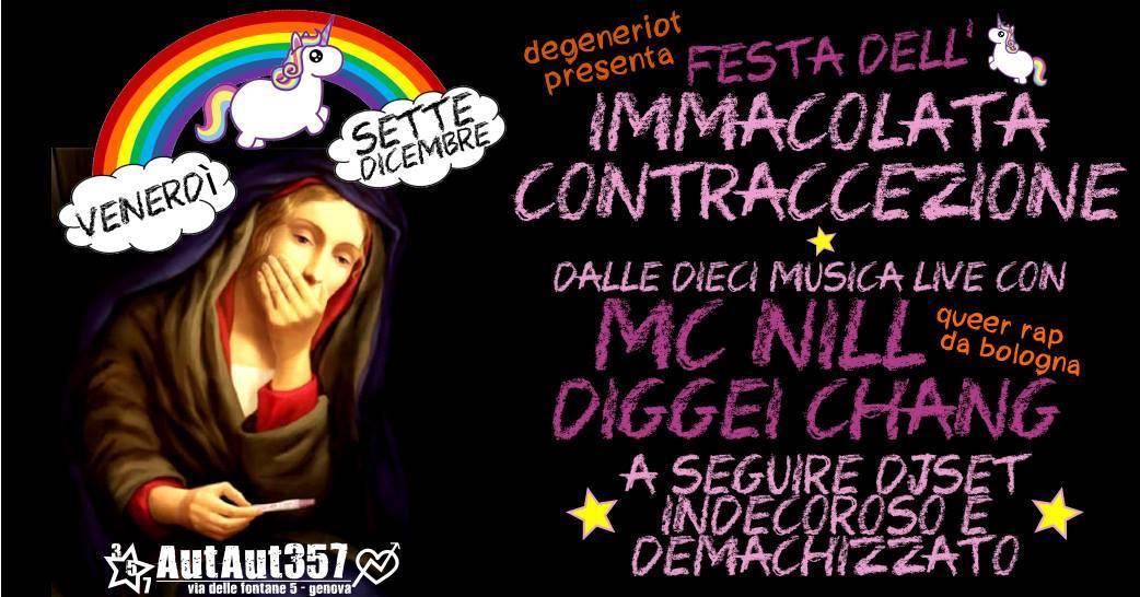 """""""L'immacolata contraccezione"""". Il party blasfemo al centro sociale"""