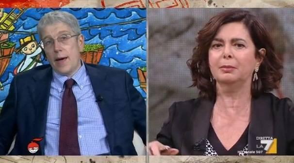 """DiMartedì, Laura Boldrini attacca Giordano: """"Con lui non voglio parlare"""""""