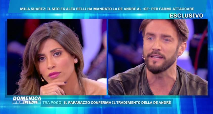 """Domenica Live, scontro tra Mila Suarez e Alex Belli. Lei: """"Non sono pazza"""""""