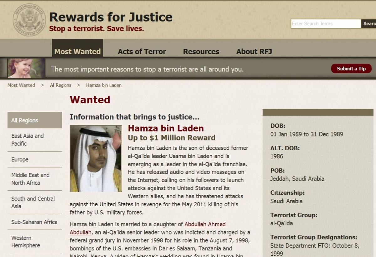 Per l'Fbi Hamza bin Laden è ancora ricercato
