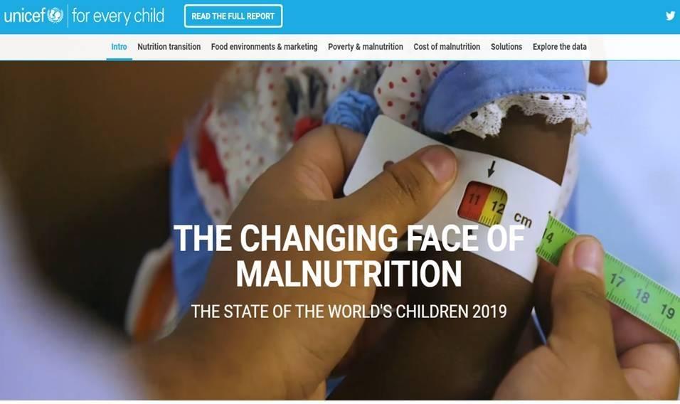 """Unicef lancia l'allarme: """"Nel mondo, un bambino  su 3 è denutrito o obeso"""""""