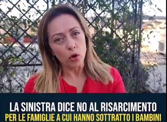 """Meloni: """"Il governo non vuol risarcire vittime degli affidi illeciti"""""""