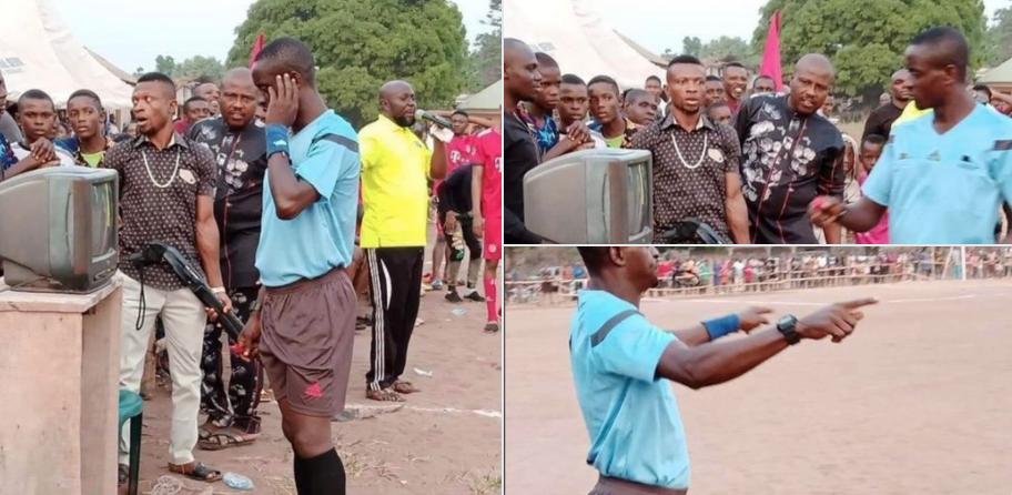 VAR, immagini choc in Africa: arbitro con il fucile puntato