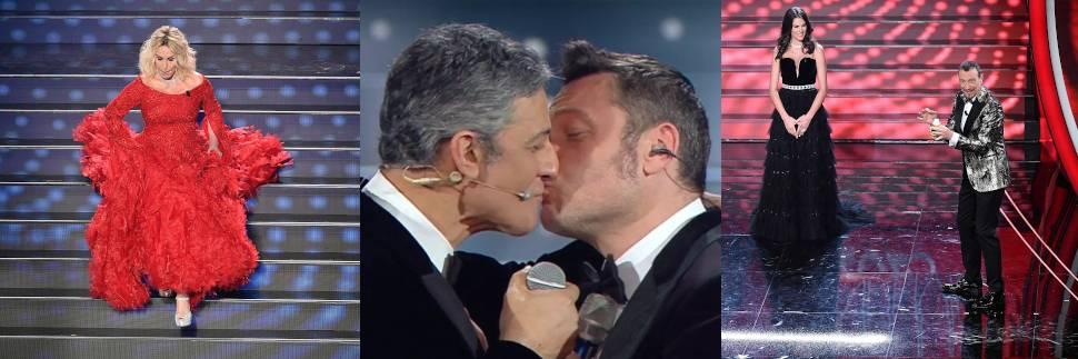 Sanremo, Fiorello bacia Ferro. E Bugo se ne va a metà esibizione