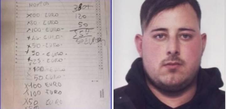 In arresto il pusher di marijuana: annotava la contabilità in un bigliettino