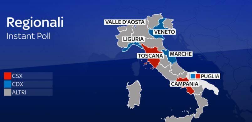 """Ecco la nuova """"mappa"""" d'Italia: il centrodestra governa in 15 Regioni"""