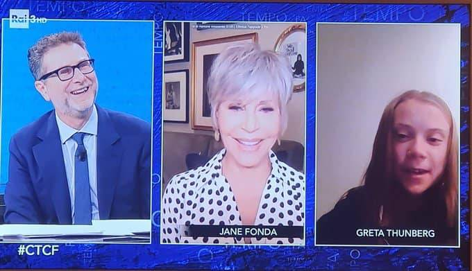Il ritorno di Greta in tv da Fazio: con lei l'anti-Trump Jane Fonda