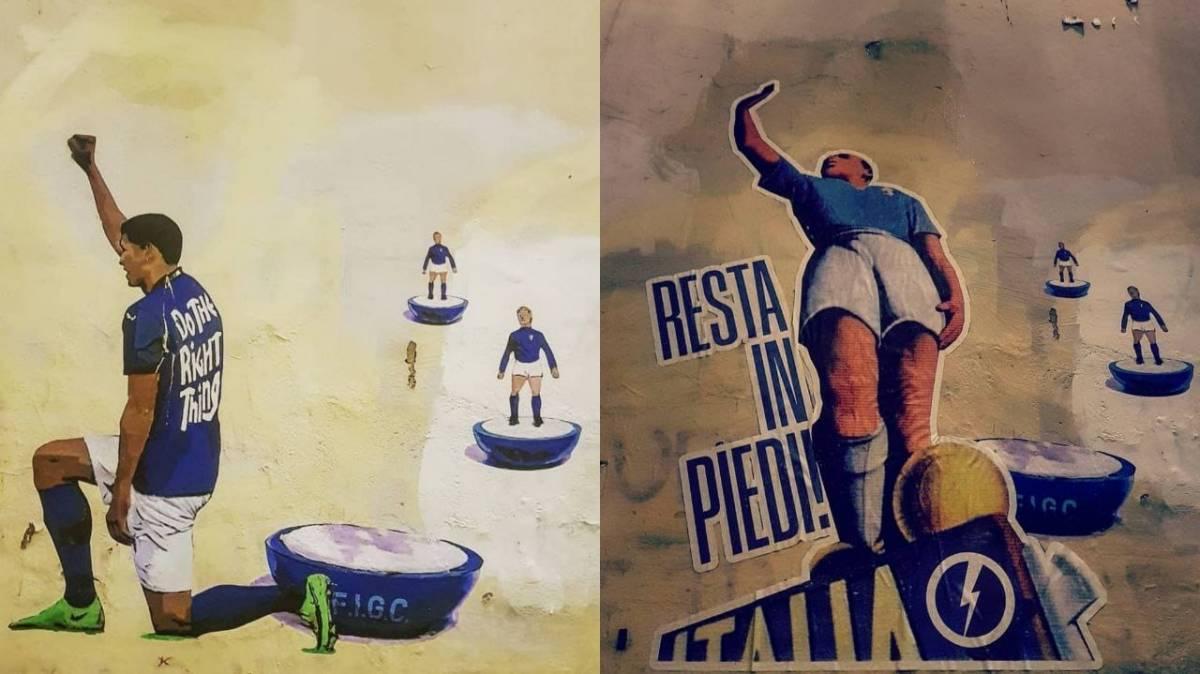 """""""Italia resta in piedi"""": bufera sul murale di CasaPound"""