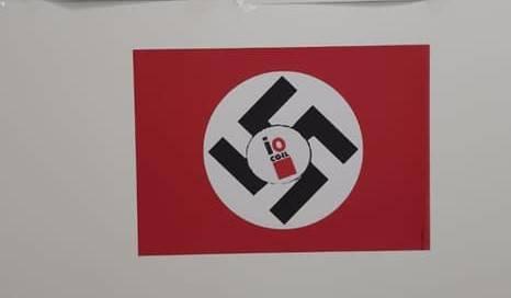 Svastica sul logo Cgil nell'ufficio del sindacato