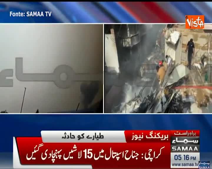 Aereo passeggeri precipita a Karachi in Pakistan