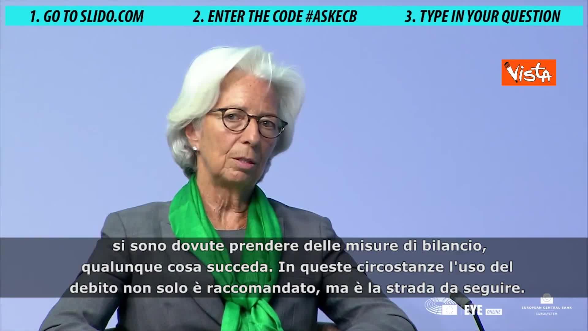 """Lagarde: """"Covid non provocherà una nuova crisi dell'euro"""""""