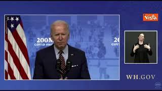 """Vaccini, Biden: """"In Usa raggiunto obiettivo 200 milioni di dosi in 100 giorni"""""""