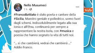 I messaggi di cordoglio dei politici per la morte di Battiato, da Giorgia Meloni a De Luca