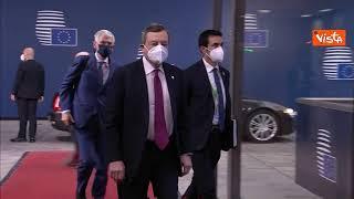 Il premier Mario Draghi arriva a Bruxelles per il Consiglio Ue