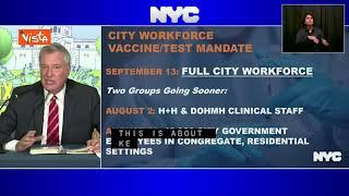 """Il sindaco de Blasio annuncia: """"Da settembre lavoratori di New York vaccinati o tamponi settimanali"""""""
