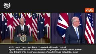 """SOTTOTITOLI Biden: """"Sottomarini nucleari per l'Australia, è tecnologia sicura"""""""