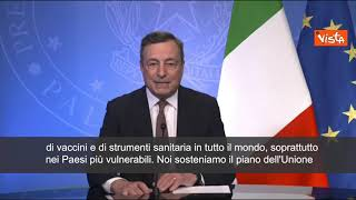"""Draghi: """"Pronti a triplicare impegno, doneremo 45mln dosi entro fine anno"""""""