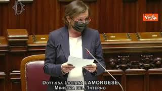 """Green pass, Lamorgese: """"Inaccettabili accuse strategia tensione"""". Contestata dai banchi di FdI"""