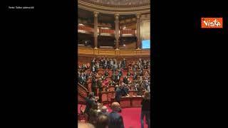 Gli applausi al Senato dopo l'affossamento del Ddl Zan