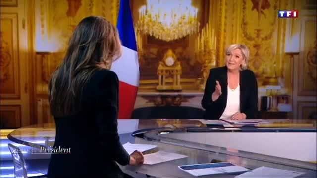 """Marine Le Pen a TF1: """"Via la bandiera dell'Ue dallo studio"""""""