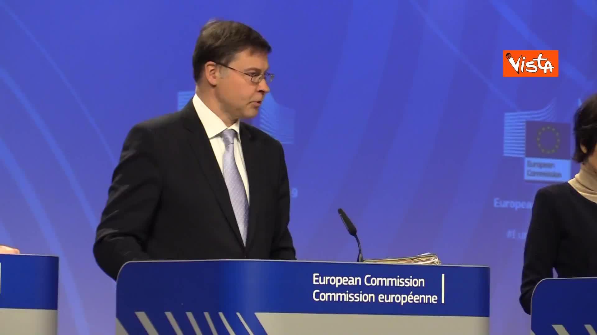 """Manovra Italia, Dombrovskis: """"Con rammarico confermiamo valutazione, cifre eloquenti"""""""