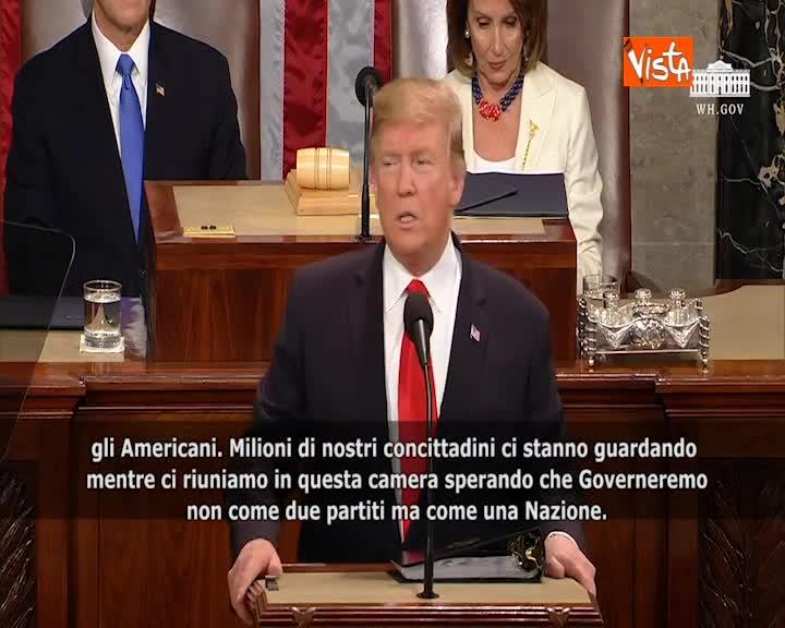 """L'appello all'unità di Trump: """"Non si governi come due partiti ma come una Nazione"""" SOTTOTITOLI"""
