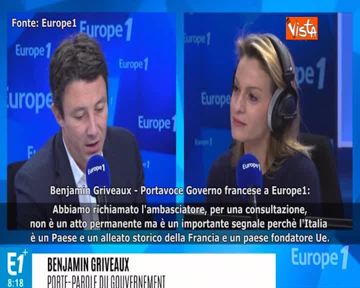 """Il portavoce del governo francese: """"Il richiamo dell'ambasciatore è un segnale"""""""