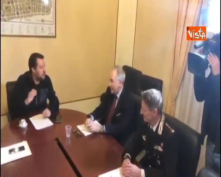 Salvini al comitato provinciale per l'ordine e la sicurezza a Sassari, immagini