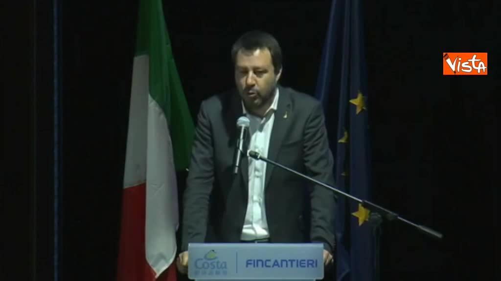 """Salvini a presentazione nuova nave Costa Crociere: """"Confesso di non essere mai stato in crociera"""""""