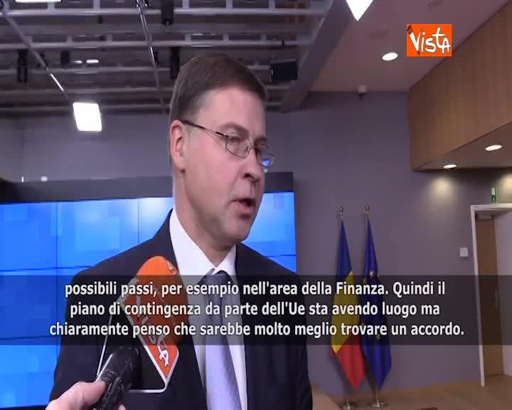 """Brexit, Dombrovskis: """"Molto meno distruttivo per entrambe le parti se si trova accordo"""" SOTTOTITOLI"""