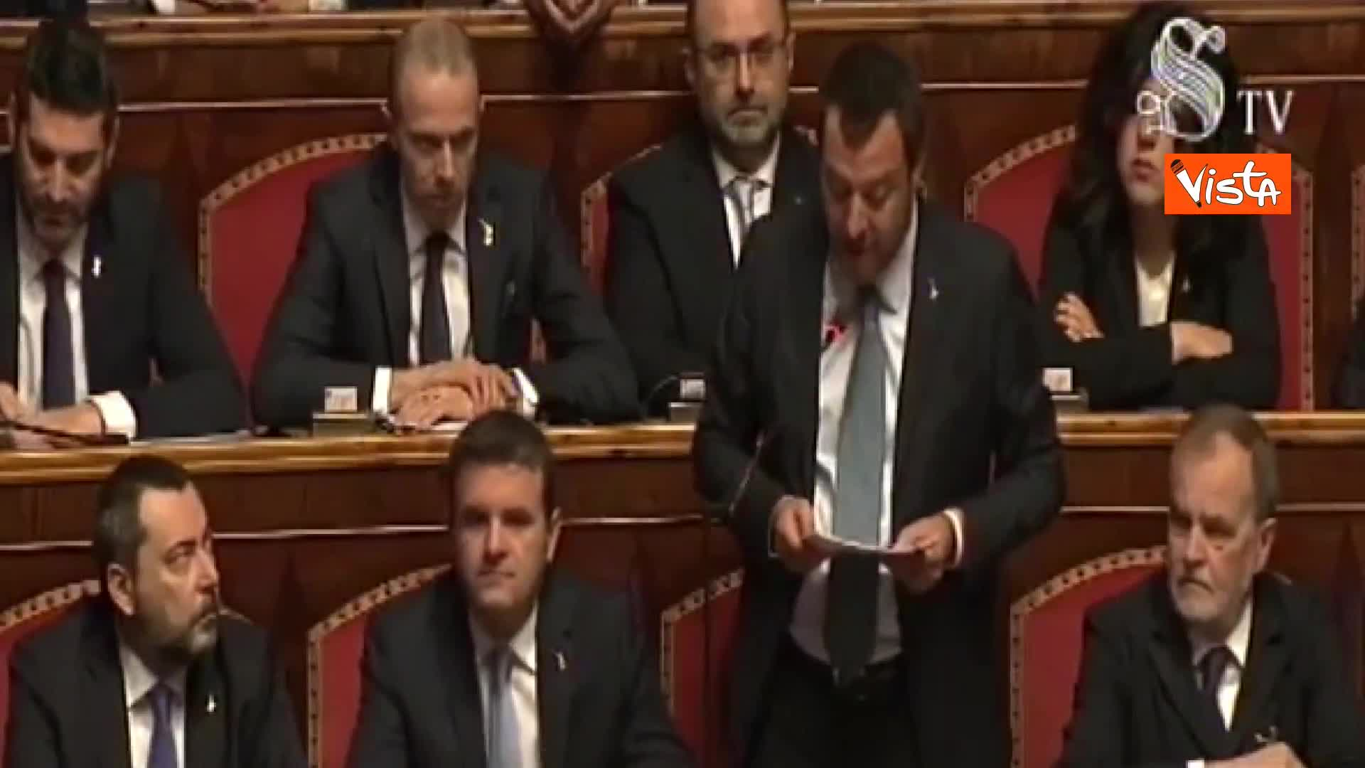 """Diciotti, Salvini in Senato: """"Non avrei mai pensato di intervenire per sequestro di persona"""""""