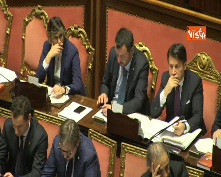 Diciotti, Conte in Aula Senato accanto a Salvini