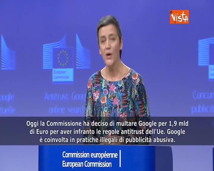 """Google, Ue: """"Nuova multa di 1,9 mld di euro"""" SOTTOTITOLI"""